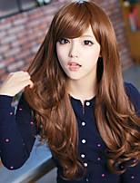 Japan and South Korea Fashion Dark Brown Inclined Bang Big Curly Hair Wig