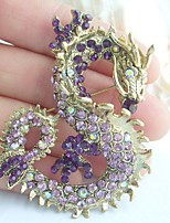 Women Accessories Gold-tone Purple Rhinestone Crystal Dragon Brooch Art Deco Crystal Brooch Pin