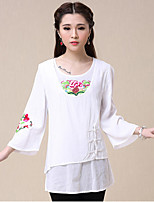Women's Pink/White T-shirt , Round Neck ¾ Sleeve Embroidery