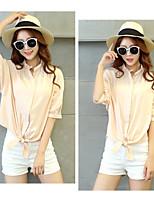 Women's Pink/White/Black T-shirt , Stand ½ Length Sleeve