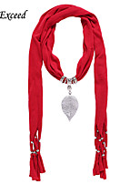 D Exceed  Women Cheap Polyester Solid Color Scarves with Alloy Hollow Out Leaf Pendant Red Tassel Jewelry Scarfs