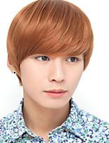 South Korea Fashion Handsome Boy Short Hair Inclined Liu Haixiu Face Bulk Short Straight Hair Wig A Light Brown Wig