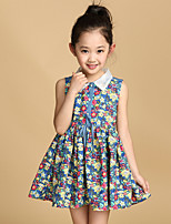 Girl's Summer Micro-elastic Opaque/Thin Sleeveless Dresses (Cotton Blends)