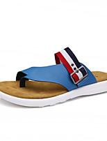Sapatos Masculinos-Sandálias-Preto / Azul / Branco-Couro-Casual