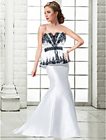 Formal Evening Dress Trumpet/Mermaid Strapless Floor-length Satin Women Prom Dress