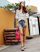 Damen T-Shirt  -  Rüsche Baumwolle Kurzarm Rundhalsausschnitt