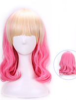 40 Cm Harajuku Anime Cosplay Wigs Party Wave Curly Synthetic Hair Wigs Halloween Costume Pink Blonde Ombre Wigs Peruca