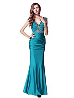 Formal Evening Dress - Ink Blue Sheath/Column V-neck Floor-length Stretch Satin