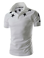Men's Fashion Stars Print Slim Short Sleeved Polo