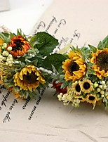 Silk Sunflower Bouquet 2 Bouquets/Lot Each Bouquet 5 Heads for Wedding Decoration