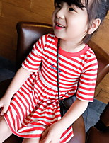 Striped Short-sleeve Round Neck Pleated Dress