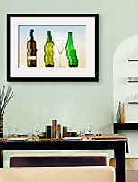 E-HOME® Framed Canvas Art, Deformed Colored Glass Bottles Framed Canvas Print