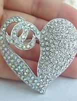 Women Accessories Wedding Silver-tone AB Clear Rhinestone Crystal Love Heart Brooch Wedding Deco Crystal Brooch