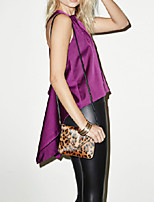 Women's Sexy Backless Straps Cross Dovetail Purple Sleeveless Asymmetric Sexy Shirt