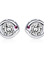 Jazlyn Authentic Platinum Plated 925 Sterling Silver Purple Fish Cubic Zirconia Lovers Stud Earrings for Gift