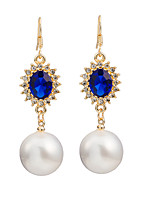 Women's Fashion Classic Elegant Sapphire Pearl Pendant Stud Earrings HJ0057