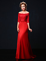 Formal Evening Dress - Ruby Trumpet/Mermaid Off-the-shoulder Court Train Lace/Charmeuse