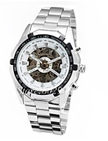 Men's Skeleton Watch Hollow Engraving Automatic self-winding Stainless Steel Band White