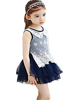 Kids Girls Sleeveless Chiffon Princess Party tutu Mini Skirt Dresses (Cotton Blends/Mesh)