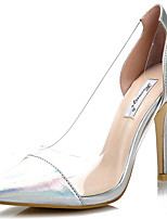 Women's Shoes Leather Stiletto Heel Heels/Pointed Toe Pumps/Heels Wedding/Dress White/Silver