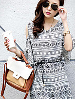 Women's Print Multi-color Blouse , Casual Round Neck ¾ Sleeve