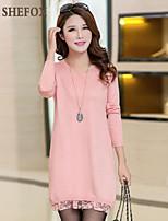 Women's Vintage/Casual/Work Micro-elastic Medium Long Sleeve Dress (Lace/Knitwear) SF7A16