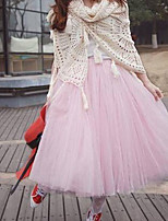 Women's Pink/Black/Green/Beige Skirts , Cute Midi