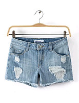 Women's Fashion Summer Vintage/Sexy Inelastic Regular Shorts Pant (Denim)