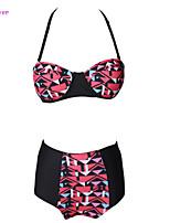 Women's Halter Bikinis , High Rise/Color Block/Bandage/Geometric Push-up/Underwire Bra/Padless Bra Polyester/Spandex Multi-color