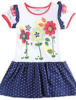 Girl's Dress Polka Dot Skirt Flower Embroidery Children Dresses(Random Printed)