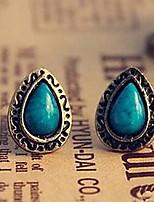 Women's Retro Ethnic Blue Pine Carved Gemstone Earrings