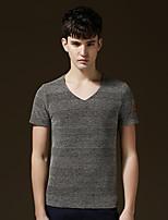 Men's Short Sleeve T-Shirt , Cotton Casual/Work/Plus Sizes Pure