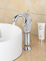 Contemporary Chrome Finish Swan Shape Bathroom Basin Faucet (Tall) - Sliver