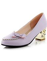 Women's Shoes Chunky Heel Heels/Round Toe Pumps/Heels Dress Black/Purple/Beige