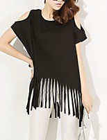 Women's Loose Letters Printing Tassel Short Sleeve T-shirt (More Colors)