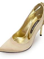 Women's Shoes Silk/Glitter Stiletto Heel Heels/Pointed Toe Pumps/Heels Wedding/Party & Evening/Dress Black/Gold