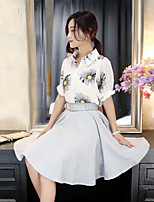 xiw&F Women's Casual/Print/Party/Work Lantern ½ Length Sleeve Shirt And Solid Skater Skirt Suits (Chiffon/Polyester)
