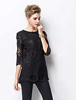 Women's Lace Black Blouse , Casual/Party/Plus Sizes Round Neck ¾ Sleeve Lace/Hollow Out