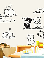 Wall Stickers Wall Decals, Lovely Cats Dogs Friends PVC Wall Stickers