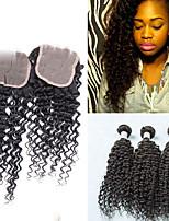 3pcs Bundles Peruvian Virgin Hair Weft With 1Pcs Lace Closure Unprocessed Deep Curly Wave #1B Hair