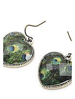 Vintage Peacock Feather Peach Heart Earrings