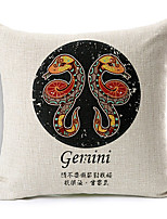 Modern Style Constellation Gemini Patterned Cotton/Linen Decorative Pillow Cover
