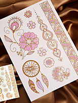4PCS Temporary Tattoo Sticker Metal Tattoo Gold Tattoo Flash Tattoo Metallic Tattoo (Changing Color in Sunshine)