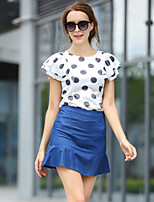 Women's Print/Polka Dot/Patchwork Multi-color Shirt , Round Neck Short Sleeve Flower