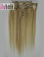 20inch (50cm) 8pcs 100 gram Clip in on Real Remy Human Hair Extensions Color #18/613