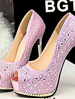 Women's Shoes Faux Leather Stiletto Heel Heels/Peep Toe Sandals Dress/Casual Pink/Red/Silver/Gray/Gold