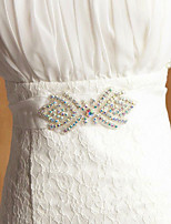 Satin/ Tulle Wedding/Party Elegant Sash With Multicolor Rhinestone