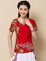 Women's Print/Patchwork Blue/Red T-shirt , Round Neck Short Sleeve