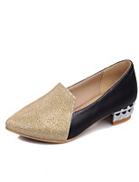 Women's Shoes  Kitten Heel Round Toe Pumps/Heels Outdoor/Office & Career/Casual Black/Silver/Gold