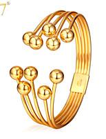 U7® Unisex Gold Multilayer Bracelet 2015 New Trendy Platinum/18K Gold Plated Jewelry Round Beads Cuff Bracelets